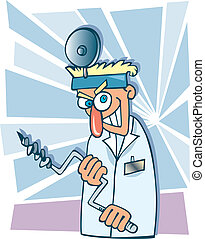 Crazy dentist - Humorous cartoon illustration of crazy...