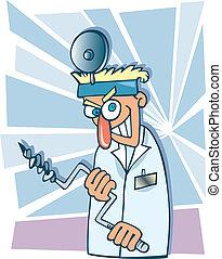 Crazy dentist - Humorous cartoon illustration of crazy ...