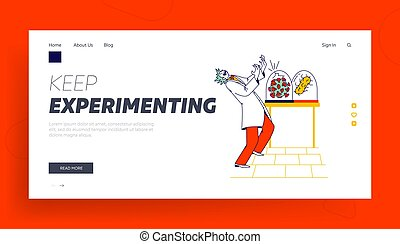 Crazy Doctor Landing Page Template. Mad Scientist Growing ...