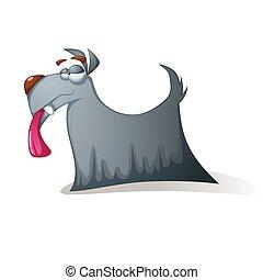 Crazy dog - funny cartoon characters.