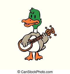 Crazy duck playing banjo. vector illustration