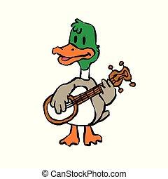 Crazy duck playing banjo