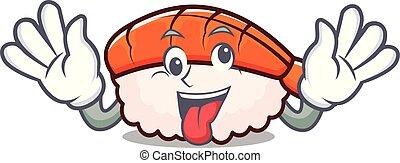 Crazy ebi sushi mascot cartoon