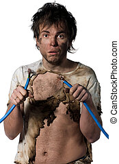 Crazy electrician - Portrait of crazy electrician over white...