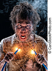 Crazy electrician - Portrait of crazy electrician over black...