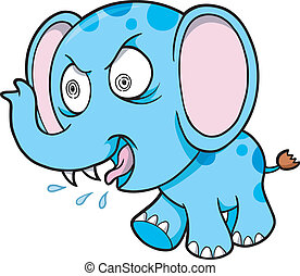 Crazy Elephant Vector Illustration