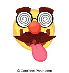 crazy emoji face with mustache and glasses mask fools day