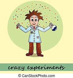 crazy experiments, chemist - chemist, vector, illustration,...