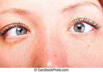 crazy eyes - crazy blue female eyes, close up view