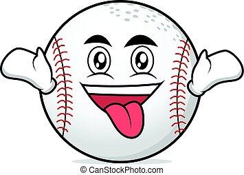 Crazy face baseball character cartoon vector illustration