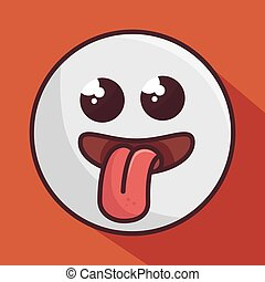 crazy face  emoticon isolated icon design