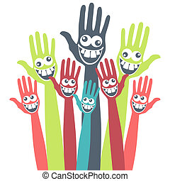 Crazy face hands.  - A large group of crazy faced hands.
