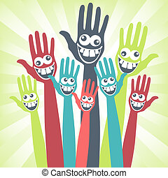 Crazy face hands design. - Crazy face hands design with a ...