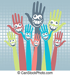 Crazy face hands design. - Crazy face hands design with a...