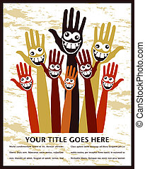 Crazy face hands design. - Crazy face hands design with copy...