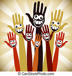Crazy face hands design.  - Hands with crazy faces.
