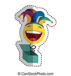 crazy face with harlequin hat isolated icon vector...