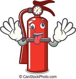 Crazy fire extinguisher mascot cartoon