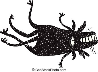 Black and white beast creature. Vector illustration.