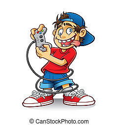 Crazy Game Boy - cartoon young people are playing games with...