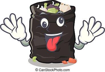 Crazy garbage bag behind the character door