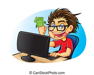cartoons young people with glasses who are crazy about computers with a mad expression and excessive happy with pleasure gets a commission from online business