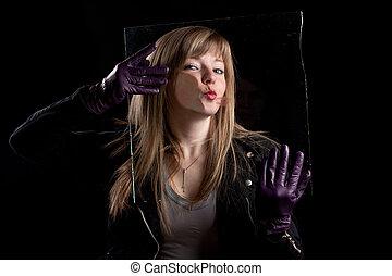 Crazy girl kissing glass 2