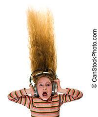 Crazy girl with headphones