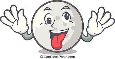 Crazy golf ball mascot cartoon