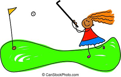 crazy golf kid - ethnic girl playing golf - toddler art...