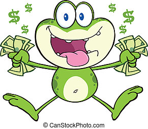Crazy Green Frog Jumping With Cash - Crazy Green Frog ...