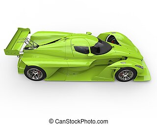 Crazy green modern super sports car - top down side view