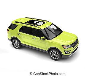 Crazy green modern SUV car - top down shot