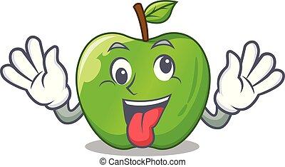 Crazy green smith apple isolated on cartoon