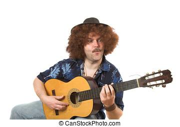 Crazy guitarman - Man with afro hair and guitar