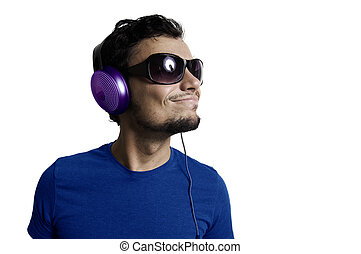 Crazy guy with headphones