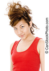 Crazy Hair - A pretty young asian woman with a crazy...