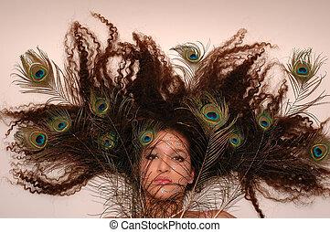 Crazy Hair - Girl wearing makeup made of rhinestone flowers ...