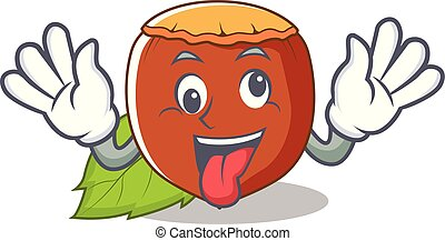 Crazy hazelnut mascot cartoon style