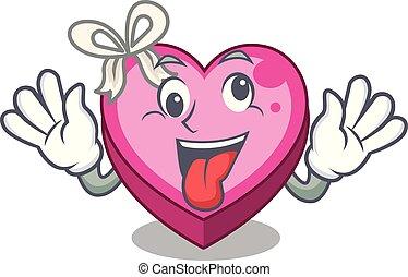 Crazy heart box in the cartoon sleep