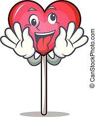 Crazy heart lollipop mascot cartoon
