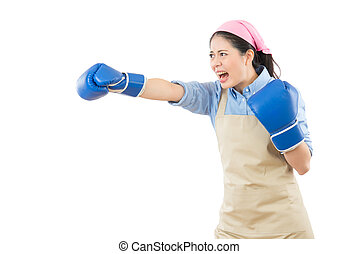 crazy house wife punching with boxing gloves