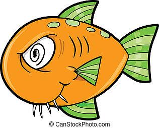 Crazy Insane Fish Ocean Vector Illustration
