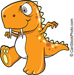 Crazy Insane Orange Dinosaur T-Rex Vector