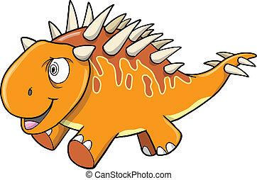 Crazy Insane Orange Dinosaur Vector