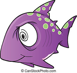 Crazy Insane Shark Vector Illustration Art