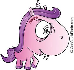 Crazy Insane Unicorn Pony Vector Illustration Art
