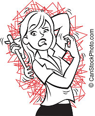Vector illustration of a woman trying to scratch an annoying itch