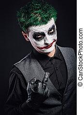 crazy joker face. Halloween