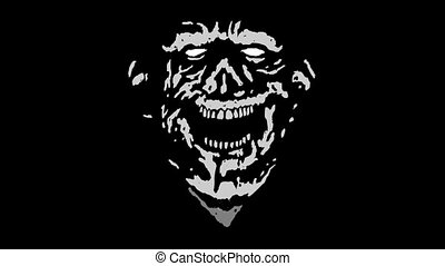 Crazy laughing zombie head with a torn face. Scary monster...